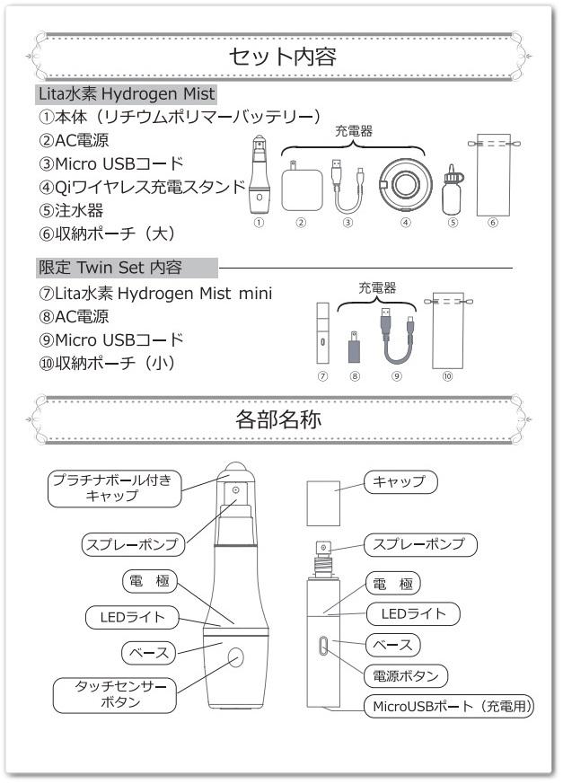 水素ミストセット内容